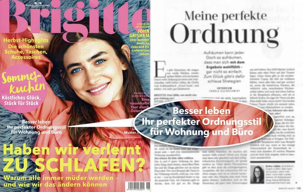 """Interview mit Esther Lübke in der """"Brigitte"""": Ordnungstricks für Wohnung und Büro"""